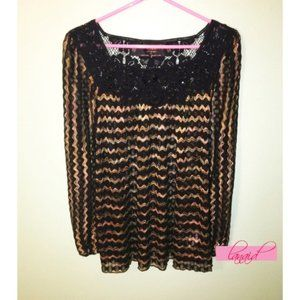 FP Lace Crochet Striped Open Knit Cut-Outs Beaded